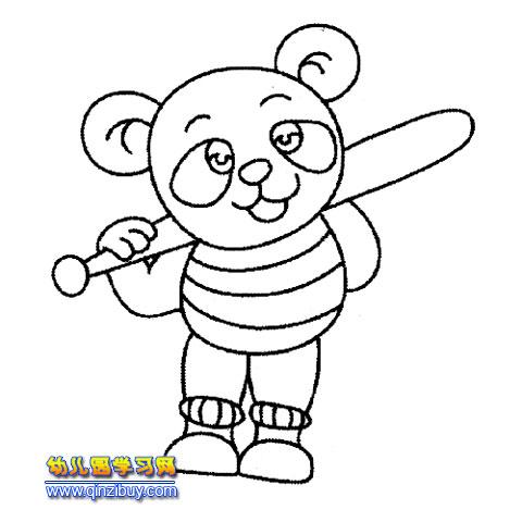 扛着棍子的熊猫(简笔画)