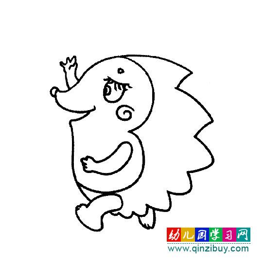简笔画:手舞足蹈的小刺猬—幼儿园教案网
