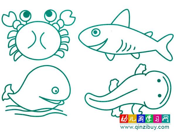 螃蟹和各种各样的鱼 水生动物简笔画