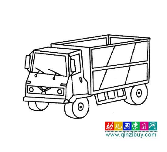 拉货的大卡车 简笔画