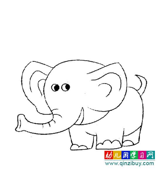 动物简笔画:高大的大象—幼儿园教案网