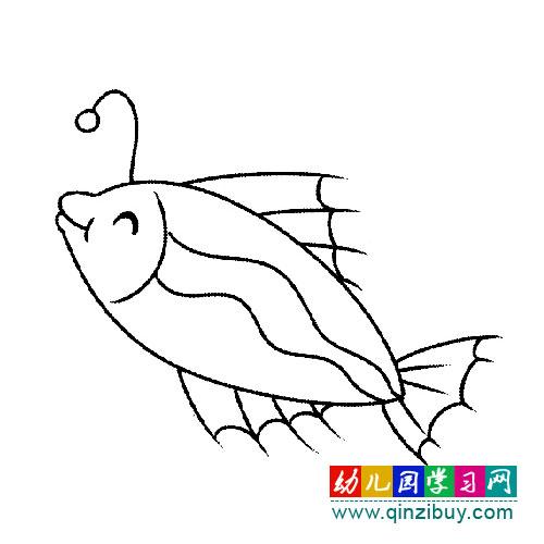 一条高兴的小鱼(幼儿简笔画)—幼儿园学习网