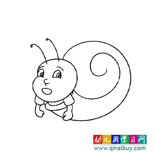 简笔画:卡通蜗牛3—幼儿园教案网