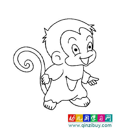 得意的小猴子 简笔画