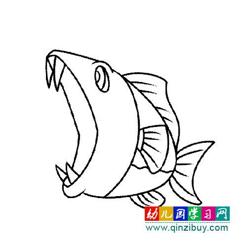大嘴巴鲨鱼(幼儿简笔画)