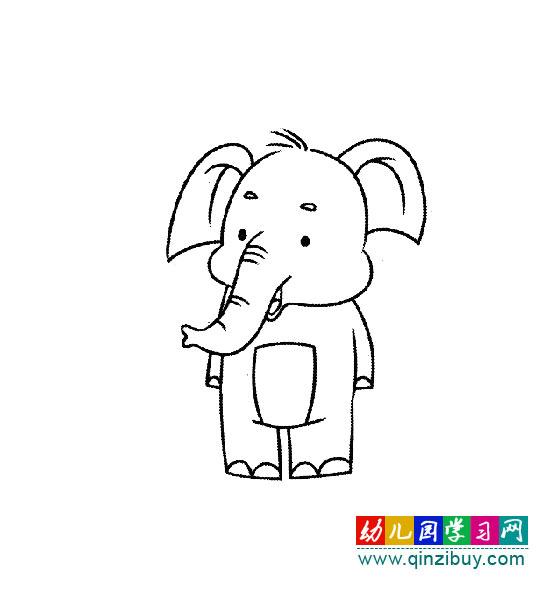 儿童简笔画图片:卡通大象1