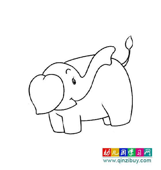 幼儿简笔画:回头看的大象