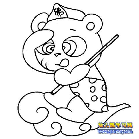 腾云驾雾的大熊猫 幼儿园简笔画