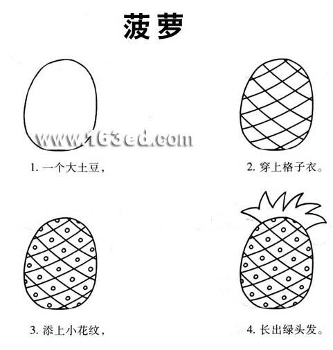 水果简笔画:菠萝—幼儿园学习网