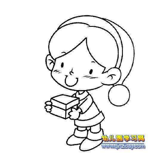 送礼物的小男孩简笔画—幼儿园学习网