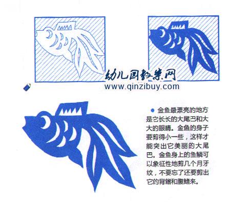 幼儿园手工制作剪纸:金鱼2—幼儿园教案网