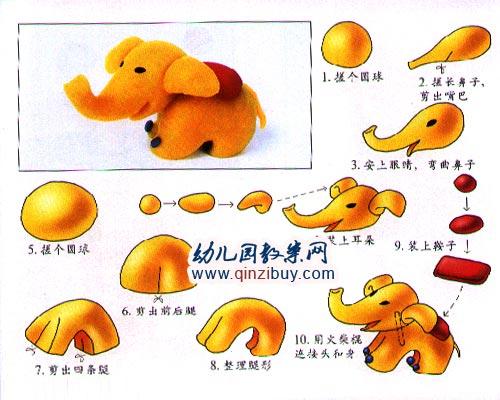 幼儿园手工橡皮泥作品:大象
