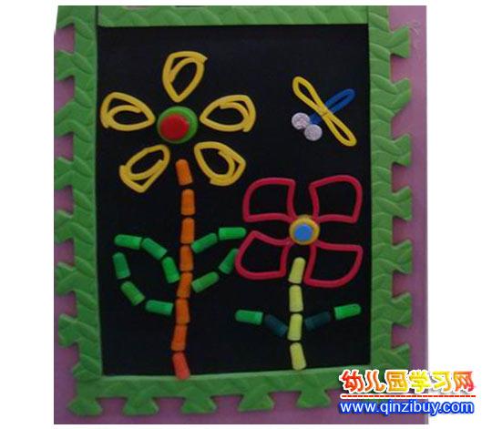 变废为宝手工作品 蜻蜓和花