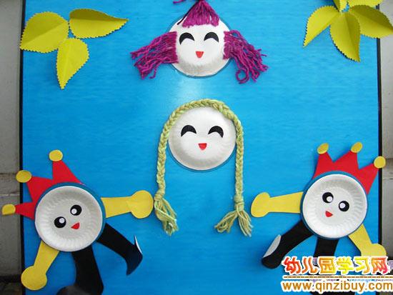 幼儿环保手工:纸盘娃娃图片