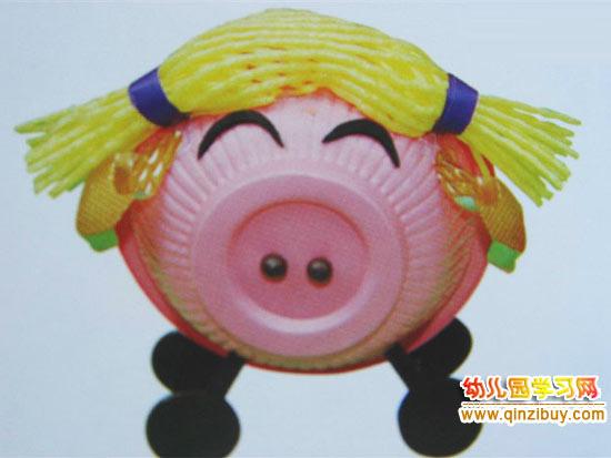幼儿园手工 一次性纸碗小猪 高清图片