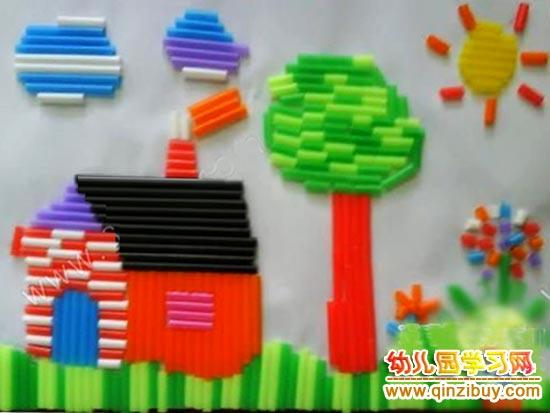 吸管变废为宝手工:吸管房子—幼儿园教案网图片