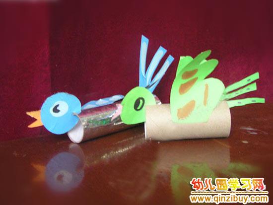 变废为宝环保小制作_幼儿园环保手工:纸筒小鸟—幼儿园学习网手工制作