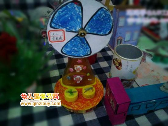 变废为宝环保小制作_幼儿园环保手工作品:电风扇—幼儿园学习网手工制作