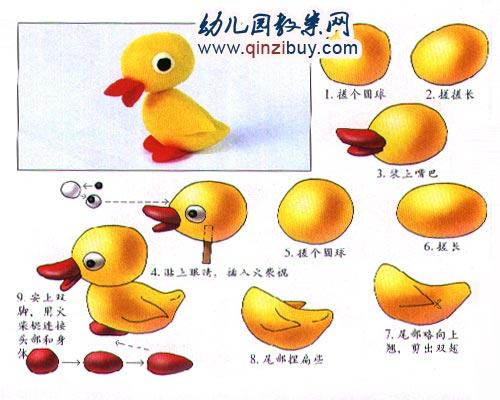 幼儿园手工橡皮泥作品:鸭子—幼儿园教案网