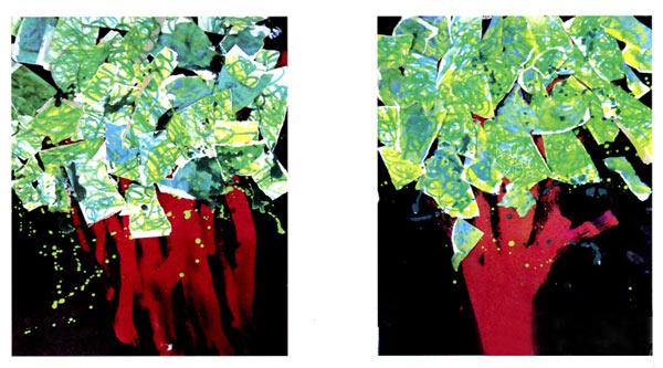 幼儿园小班美术教案彩色画活动:森林大伞下的世界 活动目标 1.欣赏作品,感知多维度绿色,感受不同绿色之问的变换。 2.尝试涂色,并撕出各种树叶装扮大树。 3.体验绿色带给人的宁静、舒适的感觉。 活动准备 1.玻璃卡纸,素描纸,沙皮纸,水溶性炫彩棒(一种能溶于水的材料,质地柔软,将它用在不同质地的画纸上,会产生不同的效果)。 2.卢梭的异国风光系列作品,自然美景图片(以树木、草地等能凸显不同绿色之间变换的图片为主,以让幼儿感知多维度绿色),大树轮廓图(没有叶子,半立体的更好)。 3.音乐《春之声圆舞曲》。