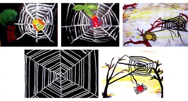 活动目标 1、尝试用短直线及射线表现蜘蛛网的结构和特点。 2、借助前期对蜘蛛的了解,在游戏中感受并在绘画中表现线条的疏密关系及方向。 3、能友好协商,体验分工合作的乐趣和成就感。 活动准备 1.幼儿看过蜘蛛的科普图片或书籍。 2.师幼共同搜集蜘蛛网图片(真实的、不同场景中的蜘蛛网图片)。 3.幼儿收集蜘蛛图片并制作成手偶,人手一个。 4.黑色水粉颜料,水粉笔,面有大树、房子等背景图的卡纸。 活动过程 1.出示图片,引导幼儿观察画面中的蜘蛛网。 教师:蜘蛛的家是什么样子的?
