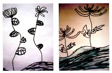 幼儿园中班画画教案设计:卷卷头发的菊花