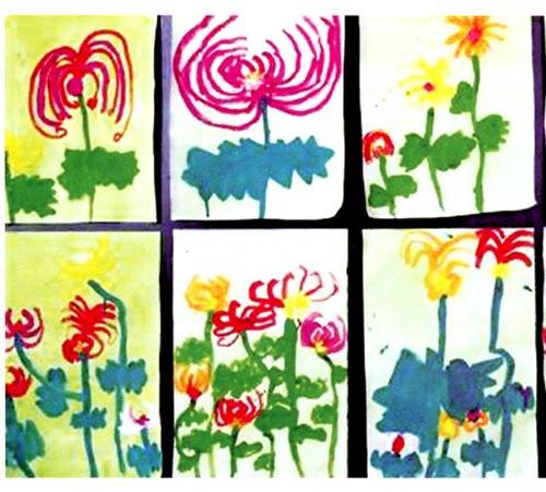 幼儿园中班画画教案设计:卷卷头发的菊花图片