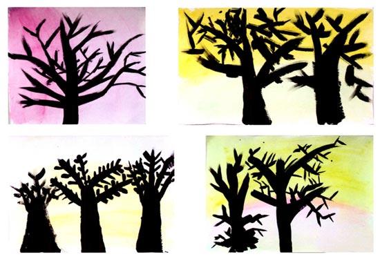 幼儿园中班美术教案设计:冬天里的树 活动目标 1、尝试用曲直、长短、粗细不同的线条表现冬天里的树,探索树枝由粗变细的表现方法。 2、通过对比观察,了解树干和树枝的不同特征。 3、感受大树在深冬的变化,并愿意用画笔表现。 活动准备 1、幼儿已了解在深冬季节落叶树的叶子会落光;幼儿已欣赏过四季中树的图片。 2、冬天里的树的图片多幅。 3、小号水粉笔,水粉颜料(黑色、咖啡色、灰色、褐色),抹布,洗笔筒,画纸。 活动过程 1、引导幼儿迁移已有经验。 (1)教师:冬天到了,大树妈妈发生了什么变化呢?