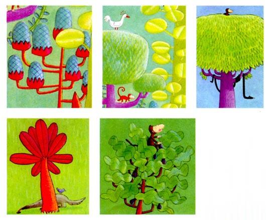 幼兒園中班美術教案設計:童話樹林 活動目標 1、嘗試用多種線條來表現大樹的樹葉和樹枝的形態。 2、欣賞、感知畫面中大樹形態的豐富性,并嘗試遷移和運用。 3、愿意大膽想象,體驗與眾不同的樂趣。 活動準備 1、幼兒寫生過實物的樹;教師帶領幼兒閱讀過繪本《我愛你,小猴子、》。