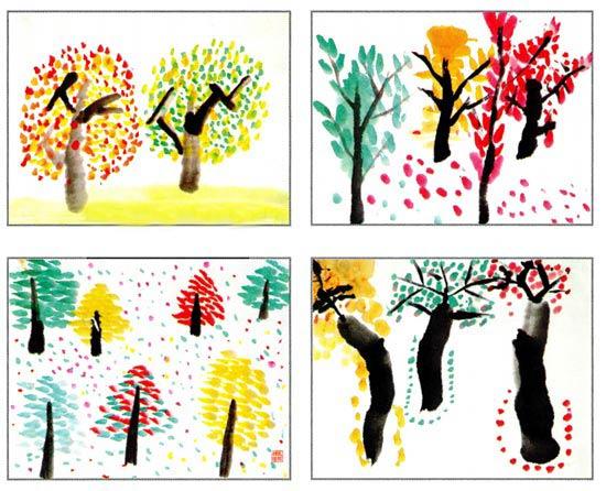 幼儿园中班中国画教案设计:彩色的树林(一) 活动目标 1、在观察、欣赏图片的基础上,感受画面色彩和意境之美。 2、尝试运用中锋点出树叶,进一步巩固调色和舔笔的基本操作方法。 3、敢于大胆表达自己对面面的理解和感受。 活动准备 1、在活动前幼儿到户外看过多种树木,知道树叶颜色的多样性。 2、课件:彩色的树林。 3、画好树干的作业纸人手一张。 4、国画工具材料。 活动过程 1、调动幼儿已有经验,引导幼儿回忆和描述所看到的树叶。 (1)教师:你们以前看到过的树是什么样子的?树叶长在哪里?树叶又是什么样子、什么颜