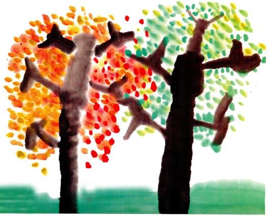 幼儿园中班中国画教案设计:彩色的树林(二)