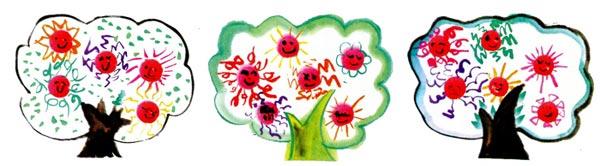 幼儿园中班中国画教案设计:太阳树