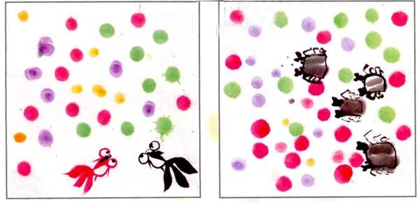 活動目標 1.通過欣賞,嘗試用海綿印章在宣紙上印出泡泡。 2.進一步了解國畫材料及特性。 3.積極參與集體討論,愿意大膽嘗試。 活動準備 1.幼兒已玩過吹泡泡的游戲。 2.宣紙,顏料(黃、咖啡、綠),顏料盤,棉簽,海綿印章。 3.事先繪制小動物吹泡泡為背景的作業紙,人手一份。