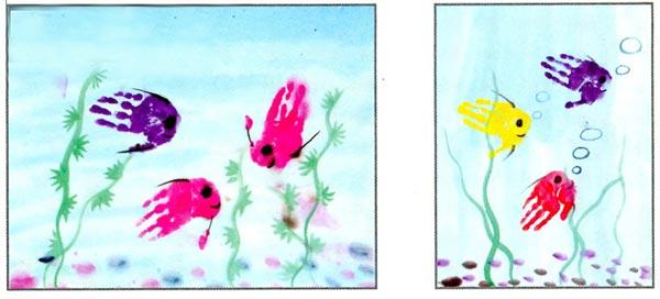 幼儿园中班中国画教案设计:美丽的热带鱼 活动目标 1.通过欣赏,了解热带鱼的各种形态和丰富的色彩。 2.尝试用手掌印、棉签添画的方法表现热带鱼,进一步了解宣纸的吸水性。 3.注意不弄脏衣物,养成良好的作画习惯。 活动准备 1.课件:有关热带鱼的录像或图片。 2.国画颜料、图画纸、宣纸、棉签、排笔等。 活动过程 1.播放热带鱼课件,引导幼儿重点观察热带鱼的形状和色彩。 教师:你看到热带鱼了吗?它是什么样子的?身上有哪些漂亮的颜色? 2.师幼共同讨论热带鱼的画法。 (1)幼儿比较图画纸与宣纸的不同,进一步