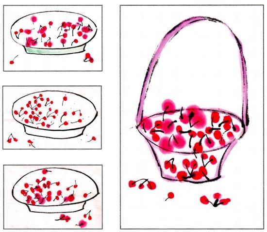 幼儿园中班中国画教案设计:好吃的樱桃 活动目标 1.观察樱桃,了解樱桃的外形特征。 2.尝试用手指在宣纸上点画出樱桃,感受宣纸的独特质感。 3.能够耐心细致地一一对应进行点画。 活动准备 l.樱桃实物、樱桃图片,画有盘子和樱桃柄等内容的作业纸人手一张。 2.相关的国画图片、国画颜料。 活动过程 1.欣赏樱桃实物或图片,了解樱桃的外形特征。 教师:老师今天带来了一盘好吃的,你们看是什么?樱桃长什么样子呀? (红红的,小小的, 圆圆的,还有一个细细长长的柄) 2.鼓励幼儿尝试用手指点呵樱桃。 (1)教师: