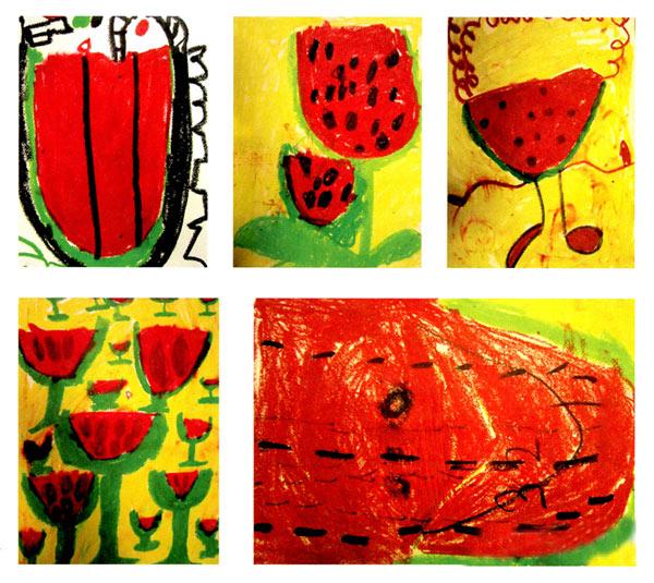 幼儿园中班美术教案彩色画活动:跳进西瓜里