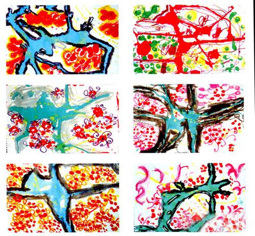 幼儿园中班美术教案彩色画活动 洒水联想