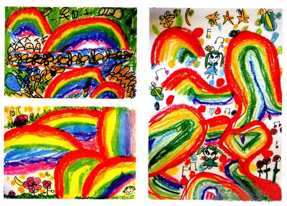 幼儿园中班美术教案彩色画活动:彩虹王国的好朋友